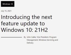 windows10 21h2 発表